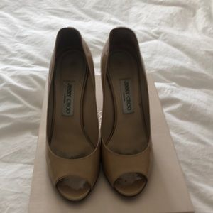 Jimmy Choo Nude Patent Leather wedge open toe